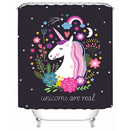 Sleepwish Unicorn Shower Curtain Cartoon Bathroom Accessories Curtains For Teen Girls Bath Decor Set With