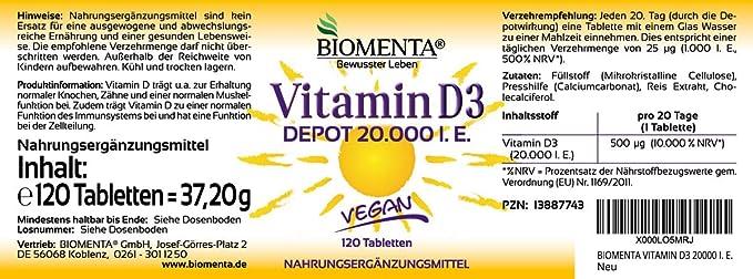 BIOMENTA VITAMINA D3 20000 IU VEGANA | Efecto Depót 1 Pastillas ...
