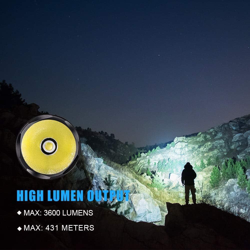 TrustFire T62 linterna LED recargable t/áctica Cree XHP70 3600 l/úmenes foco IPX8 impermeable linterna ideal para camping defensa del hogar y mucho m/ás. caza rescate