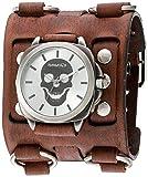 """Nemesis """"Serie de calavera acero inoxidable y de cuarzo reloj automático de piel, color: café (Modelo: bfwb935s)"""