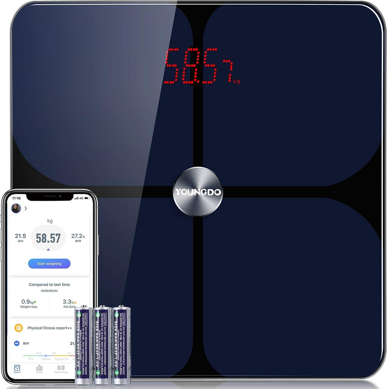 Báscula Grasa Corporal, YOUNGDO Báscula de Baño,999 Usuarios, 23 Medidas Corporales Esenciales, Recubrimiento ITO, Báscula Inteligente Bluetooth, APP inteligente, máx180kg /396lbs /28st, Andriod y iOS