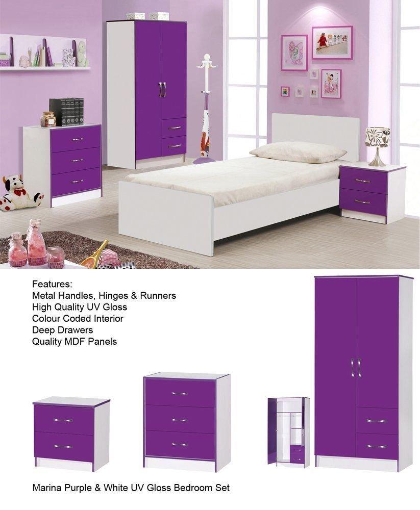 Purple High Gloss Bedroom Furniture Calypso High Gloss Purple Bedroom Furniture Set Includes 2 Door