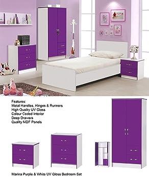 Calypso High Gloss Purple Bedroom Furniture Set Includes Door - Purple high gloss bedroom furniture