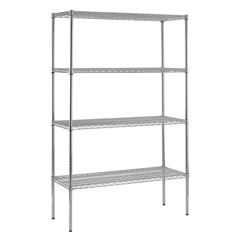 4-Shelf Chrome Wire Shelving Unit | 86 in. H x 48 in. W x 18 in. D by Generic