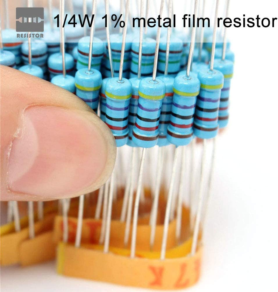 Uspacific 1000pcs 50 Values Resistor Kit 1Ohm-10 Ohm with 1/% 1//4W Metal Film Resistors Assortment for DIY Experiments Breadboards and Arduino Projects