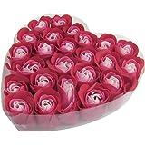 24 Pcs bain rouge savon parfumé Rose Pétale dans l'encadré Coeur