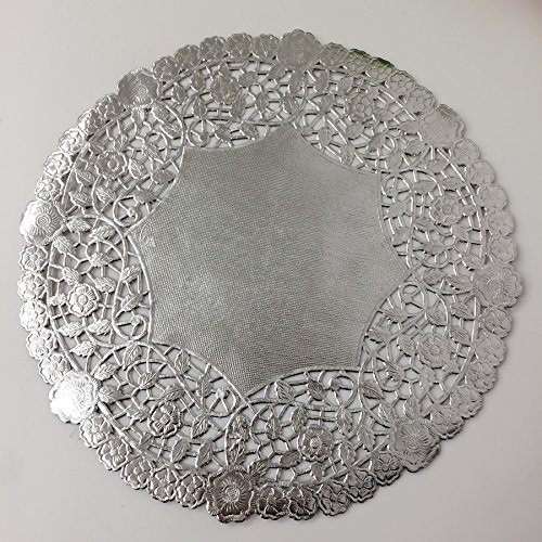 PEPPERLONELY 10 Inch Silver Round Lancaster Paper Doilies 50 Count by PEPPERLONELY (Image #1)