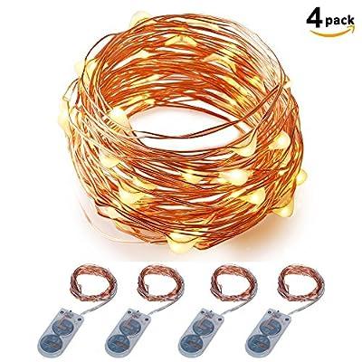 Micro LED String Lights Battery Powered ITART Set of 4 String Light 20 LEDs / 6ft (2m) for Halloween Trees Wedding Parties Bedroom