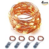 LED String Lights Battery Powered ITART Set of 4 Warm White Micro Mini String Light 20 LEDs / 6ft (2m) Ultra Thin Copper Wire Rope Lights for Trees Wedding Parties Bedroom