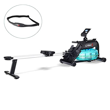 Goplus Water Rowing Machine Indoor Water Rower with Adjustable Resistance Water Wheel LCD Monitor Heart Rate Sensor Full Body Exercise for Home Use