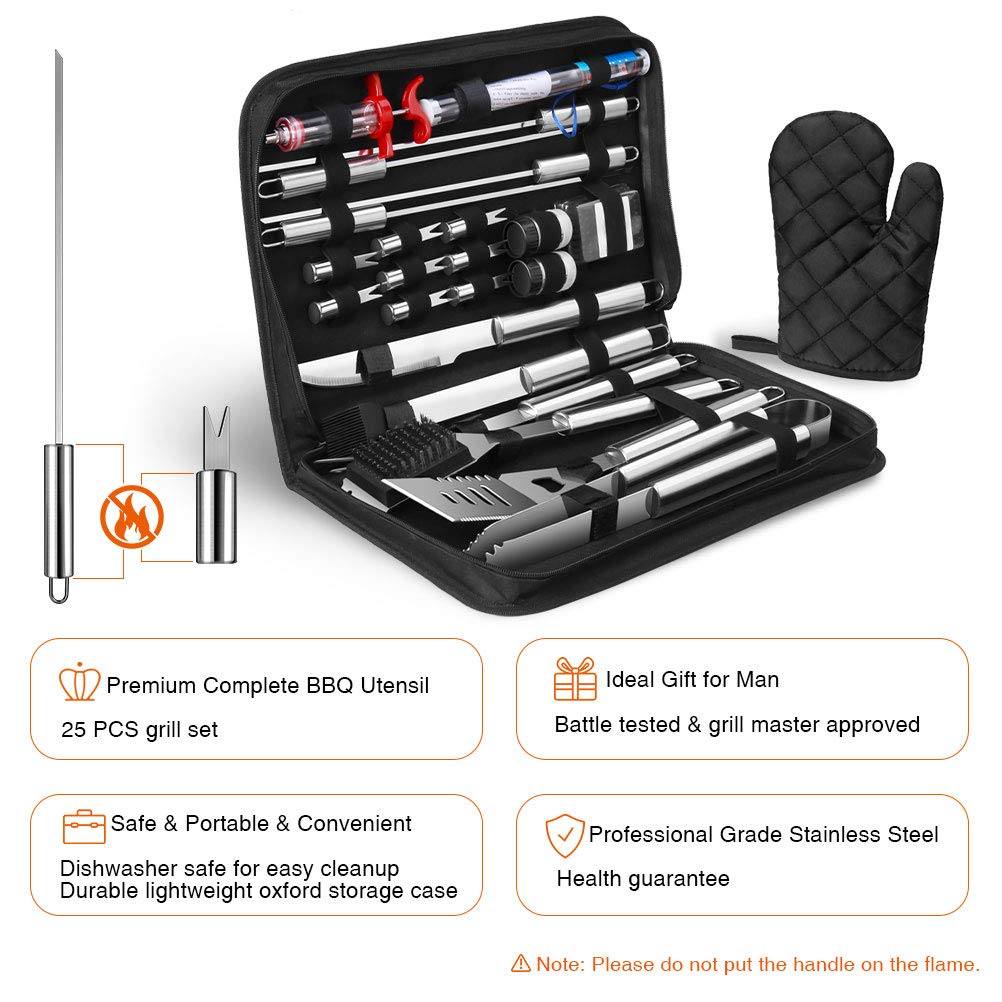 OlarHike 25PCS BBQ Grill Accessories Tools Set, Stainless Steel Grilling Kit with Oxford Cloth Case for Smoker/Camping/Kitchen, Barbecue Utensil for Men Women with Thermometer and Meat Injector by OlarHike (Image #5)