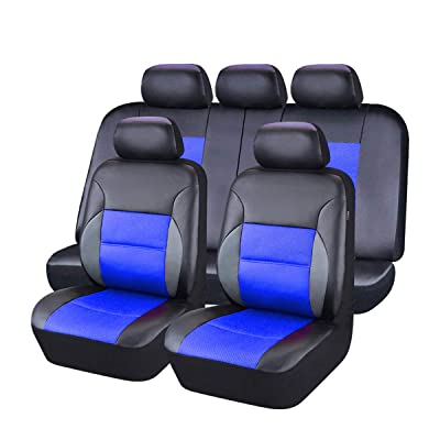 CAR PASS 11 Pieces Leather Universal Car Seat Covers Set - Black and Blue: Automotive