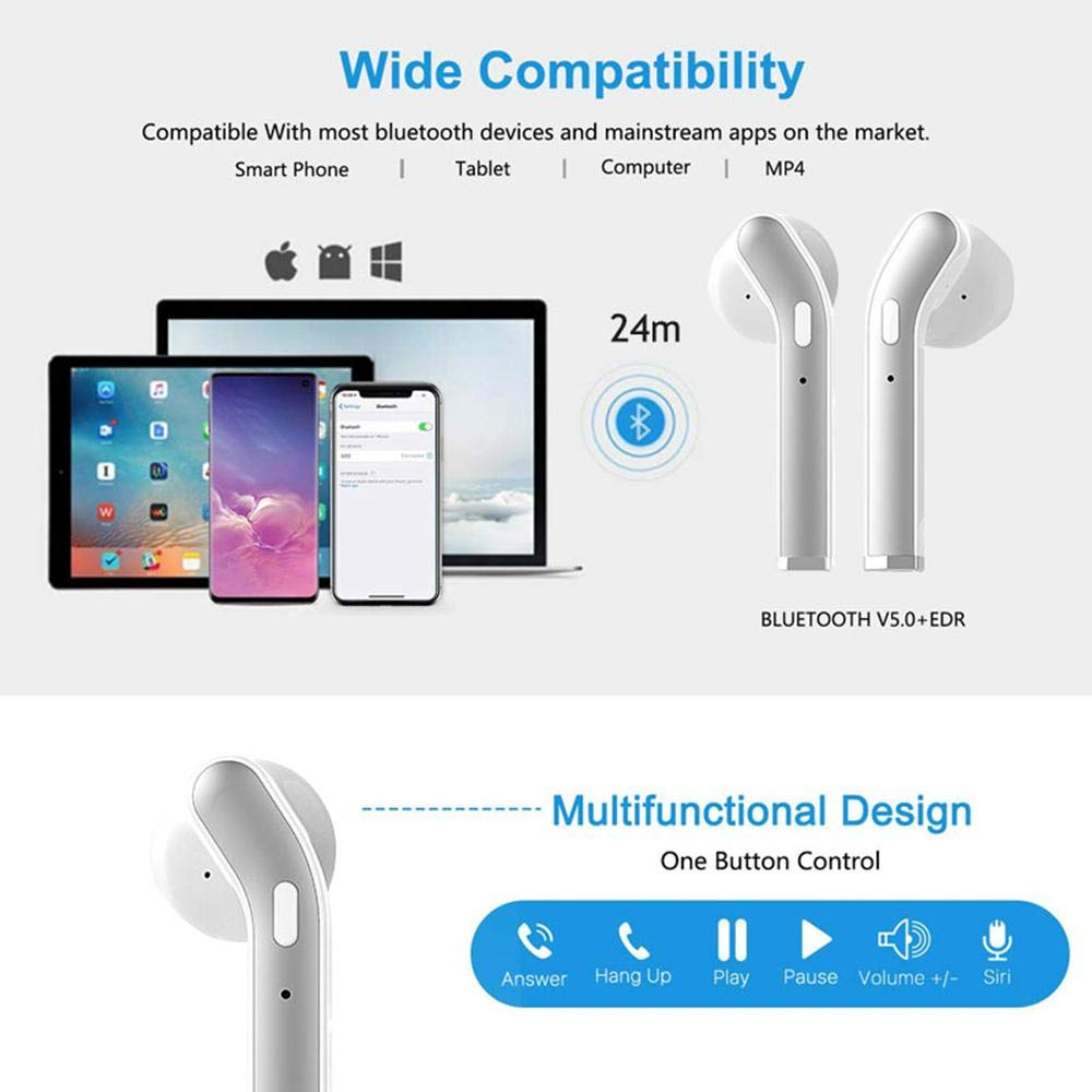 RONSHIN Headphones/Earphones/Earbuds H17T Wireless Earbuds Bluetooth Headset 5.0tws Hi-fi Sound True Bass Wireless Stereo Earphone Pearl White by RONSHIN