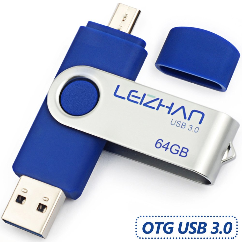 LEIZHAN Flash Drive 3.0 64GB OTG Metal Pen Drive Dual Plug Memory Stick Rotate Design Micro USB Tablet U Disk Computer Smart Phone Blue