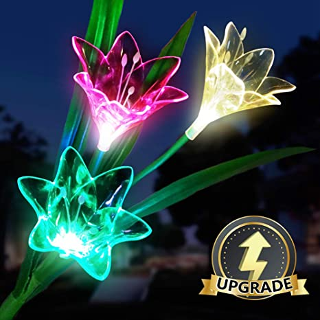 1 Pack New Upgraded Outdoor Solar Garden Lights Multi-Color Changing Lily LED Solar Powered Lights for Garden,Path,Patio Decorations Viaidol Solar Lights Outdoor