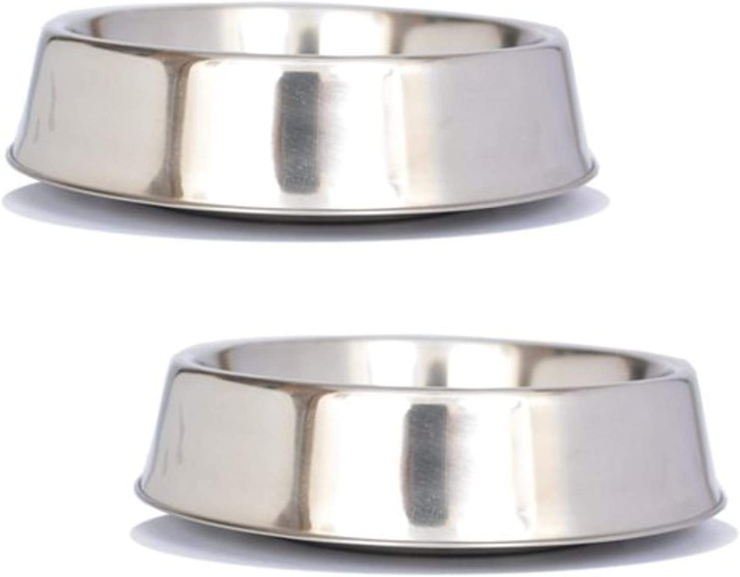 Iconic Pet 2 Cup Anti Ant Stainless Steel Non Skid Pet Bowl for Dog Or Cat (2 Pack), 16 oz