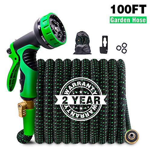 Upgraded Expandable Garden Hose 100ft Retractable Water Hose, Flexible Garden Hose, Durable 4 Layer Latex, 3/4″ Solid Brass Connectors with 9 Modes Spray Nozzle, Ideal Choice for Watering and Washing