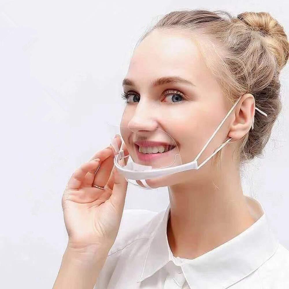 12 piezas Protector de cara abierta de seguridad reutilizable de plástico transparente protectora antivaho que cubre la boca pantalla de catering para panaderías, restaurantes