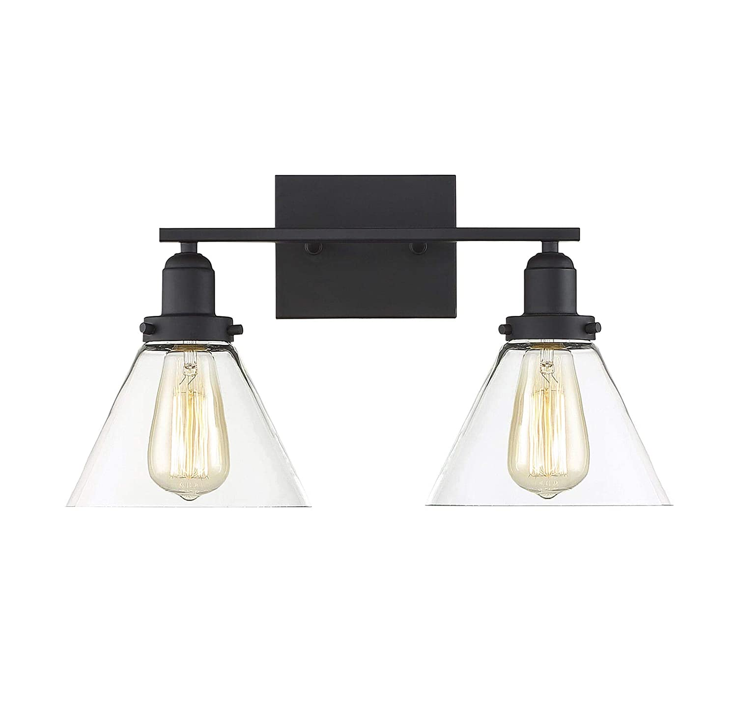 Savoy House 8-9130-2-BK Drake 2-Light Bathroom Vanity Light in a Black Finish with Clear Glass 18 W x 10 H