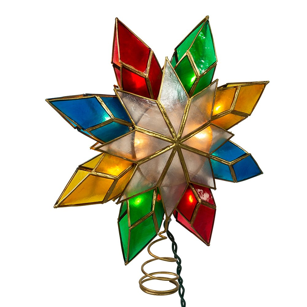 Kurt Adler 10-Light Multi-Color Capiz Star Tree Topper by Kurt Adler