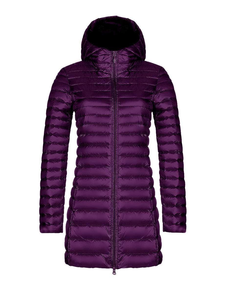 Purple Ursfashion Womens Long Light Slim Down Jacket Packable Puffer Parkas Hooded Coats SXXXXL Max Suited 105KG