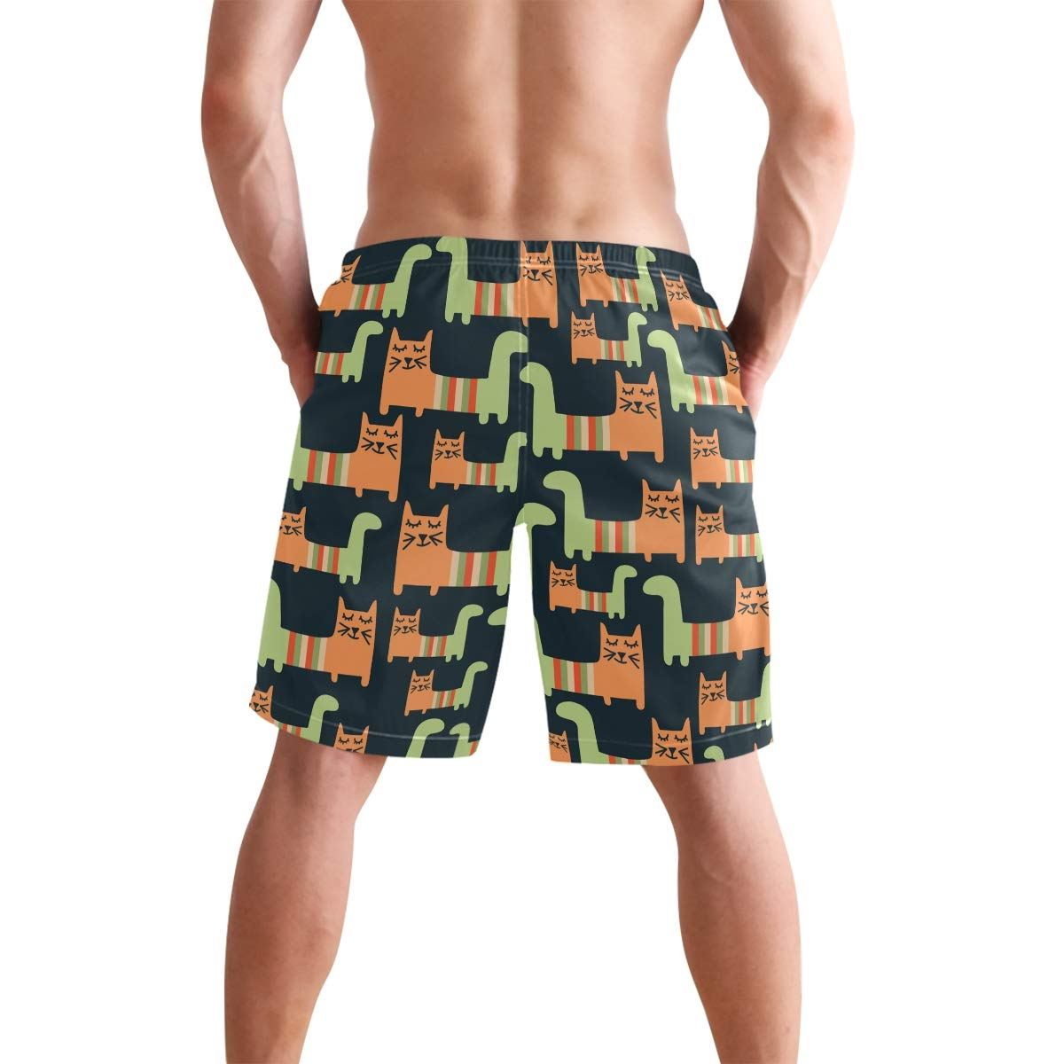 Funny Cartoon Cat Mens Swim Trunks Quick Dry Beach Board Shorts with Drawstring Pocket
