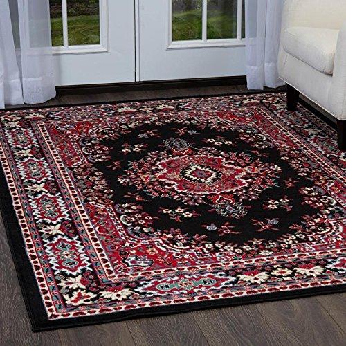 Home Dynamix Premium Sakarya Traditional Area Rug, Oriental Black/Red 7'8