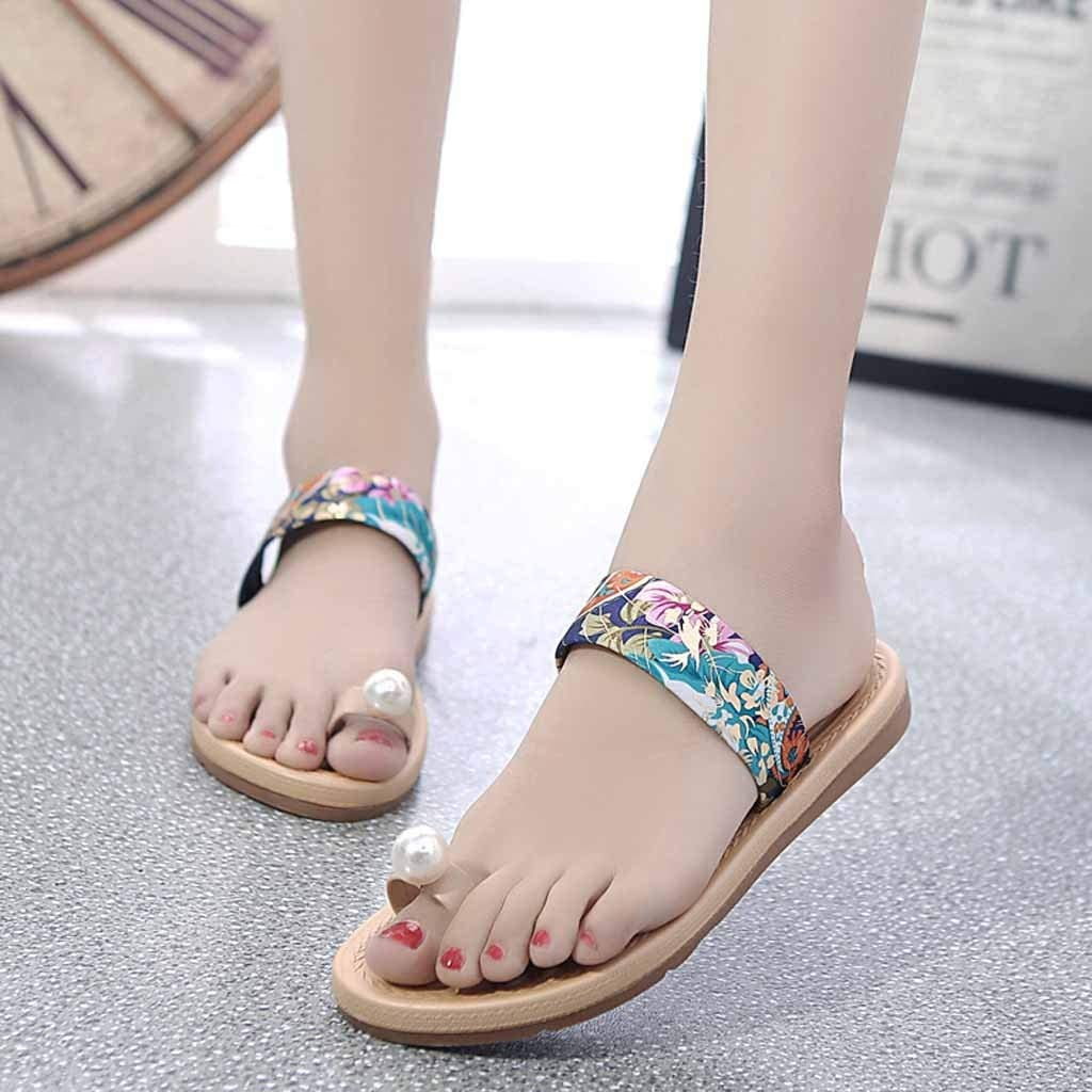 Women Fashion Beach Slippers GoodLock Ladies Summer Non-Slip Sandals Flat Pearl Toe Slippers Hot!