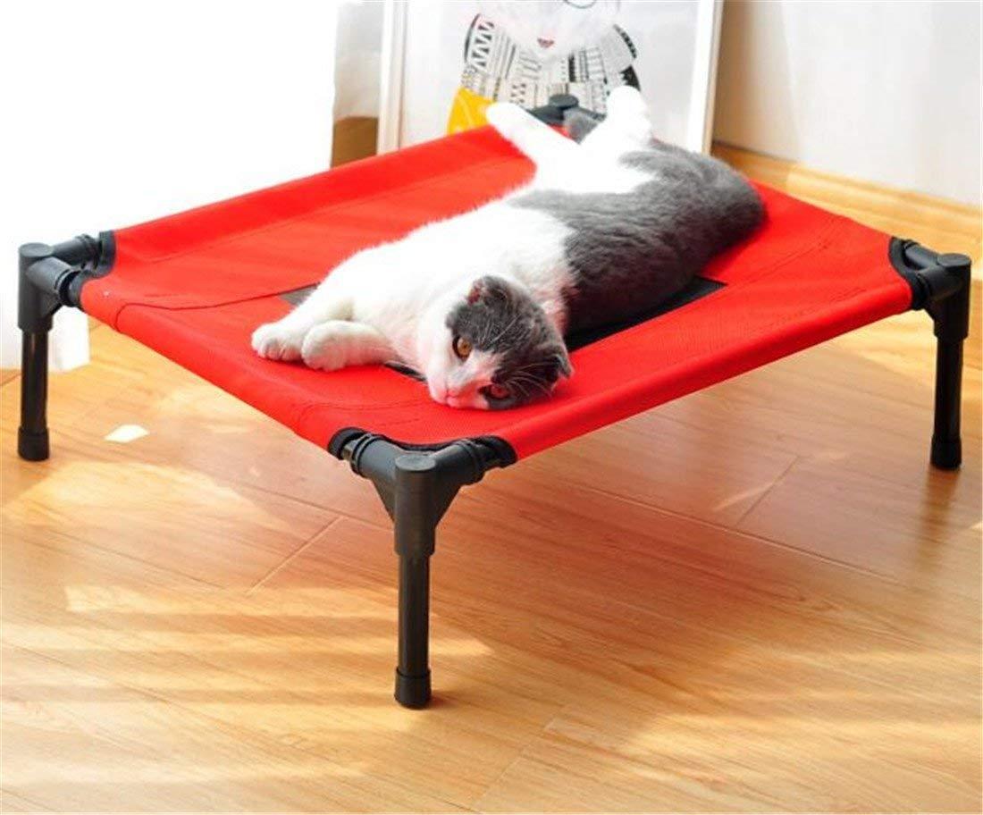 FVCDWSA Elevada Cama para Mascotas Ensamble Acampar al Aire Libre Levante la Cama del Perro Tubo de Acero Anti-óxido de PVC Malla Transpirable Extraíble y ...