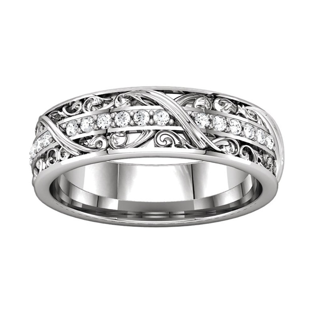 0.50 ct Ladies Round Cut Diamond Eternity Wedding Band Ring New Style in 18 kt White Gold In Size 16 by Madina Jewelry