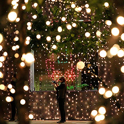 Christmas decorative Festival Decorative LED String Light Lighting – 34 Feet 100 LED Bulbs Outlet type Warm Ambient Lights Decorative for Christmas Trees, Bedroom, Patio, Wedding Parties (Warm Yellow) ()