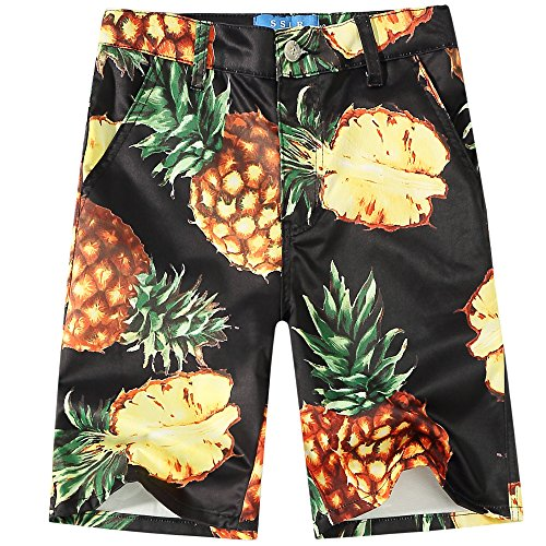 SSLR Big Boy's Pineapples Flat Front Casual Hawaiian Shorts (Medium(10-12), Black)