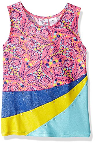 Jacques Moret Big Girls' Gymanstics Tank Top, Dotted Hearts Printed, M -