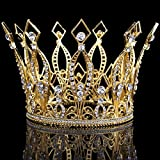 Santfe 4'' Height Luxury Full Crown Clear Rhinestone Crystal Silver/Gold Plated Tiara Pageant Bridal Prom Wedding Crown (Gold)