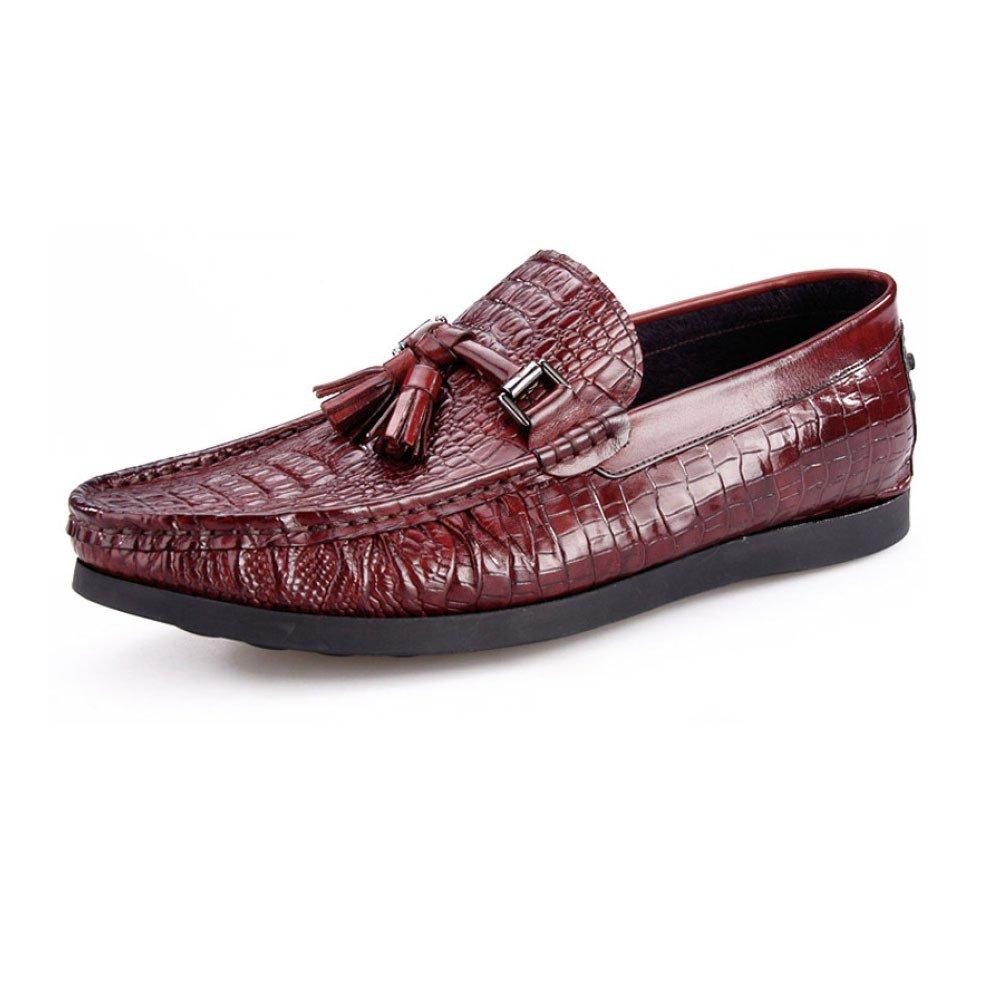 LYZGF Männer-Jugend-zufälliges Krokodil-Muster-Mode-Quasten Die Bequeme Lederschuhe Fahren