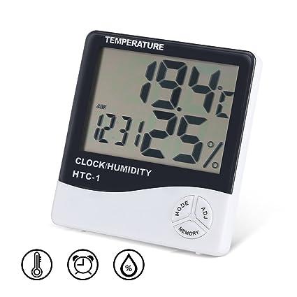 Termómetro Digital Higrómetro 3 en 1 Pantalla LCD Grande Temperatura Interior Humedad Medidor 12 Horas/