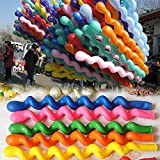 CJESLNA 50 x Latex Spiral Balloons Birthday Festival Party Decoration Mix Colors