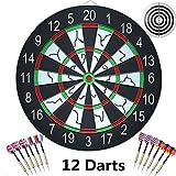 Dart Board with 12 Brass Darts Set, ihoven 18 Inch Professional...