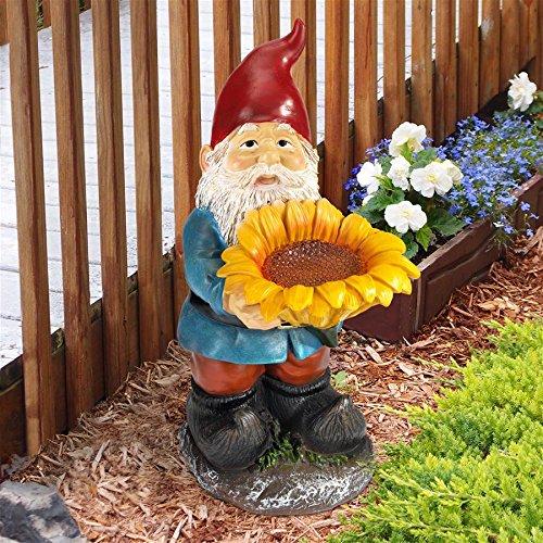 (Design Toscano Sunflower Sammy Garden Gnome Birdfeeder Statue, 11 Inch, Polyresin, Full Color)