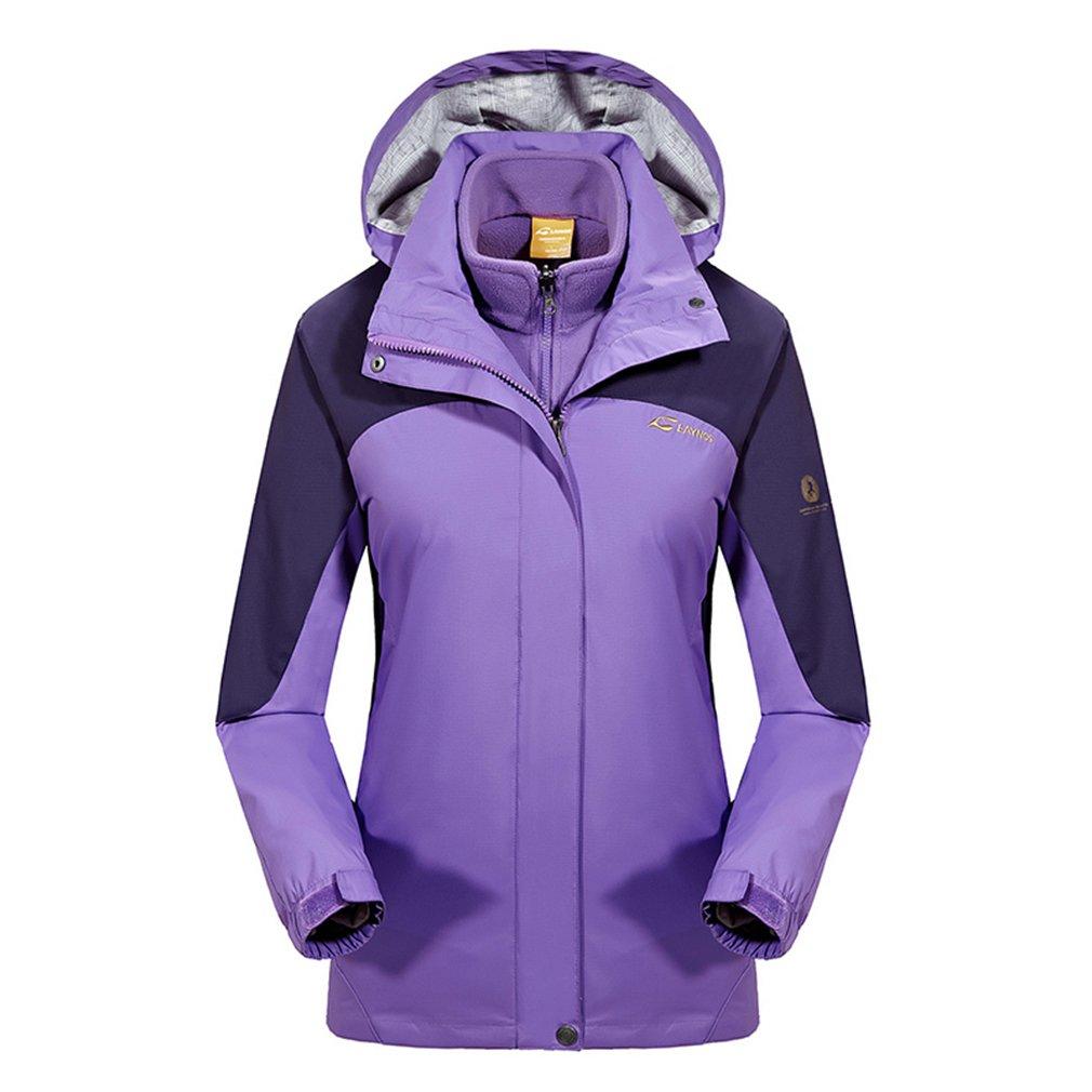 Violet L(Buste vêteHommests  96cm) ehommesmoer Femme 3 en 1 Coupe-vent Capuche Imperméable de plein air Sport Veste de camping randonnée Manteau avec Veste polaire