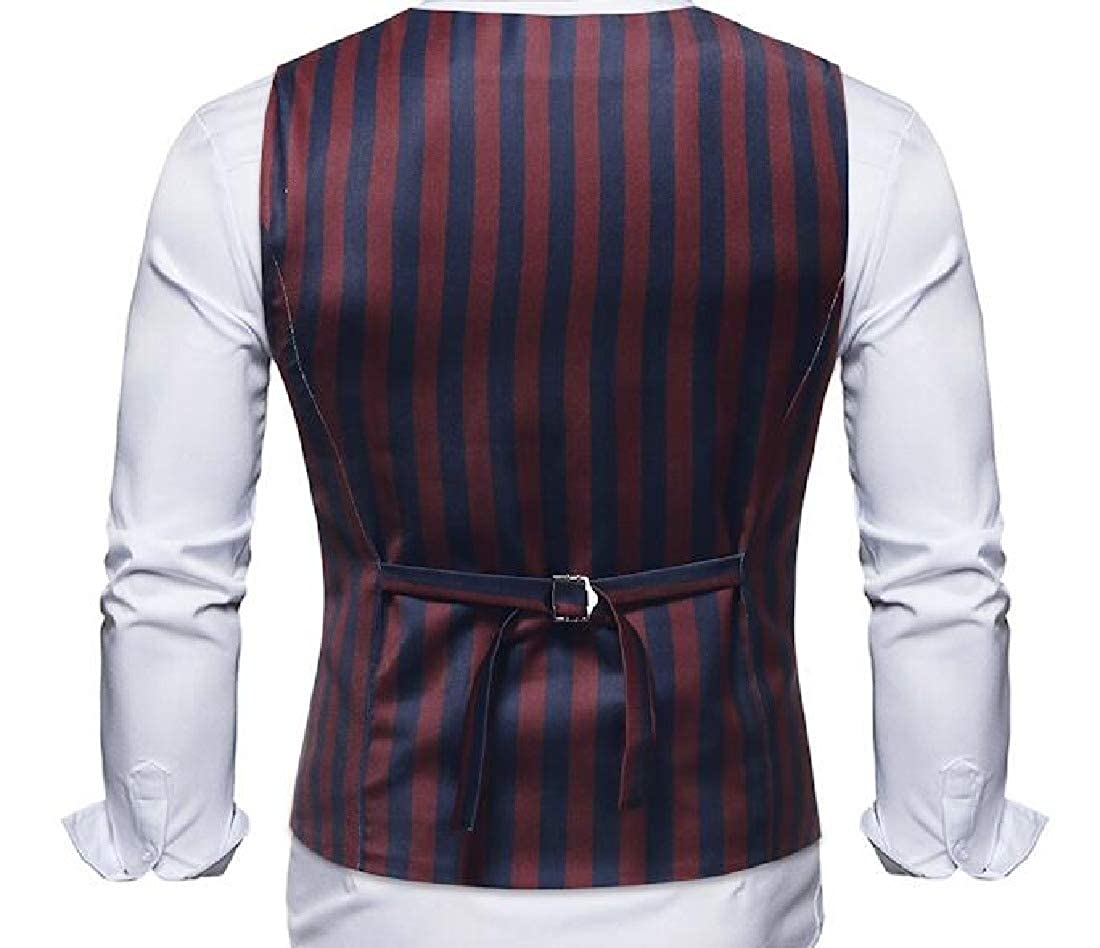 Abetteric Men Stripe Unique Advanced Stylish Party 3 Button Dress Waistcoat