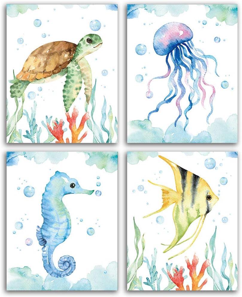 "CHIEN-CHI LILI Texture of Dreams Watercolor Sea Marine Life Art Print Set of 4 (8""X10""), Sea Turtle Seahorse Fish Jellyfish Wall Poster, Blue Ocean Theme Baby Nursery Kids Room Wall Decor"