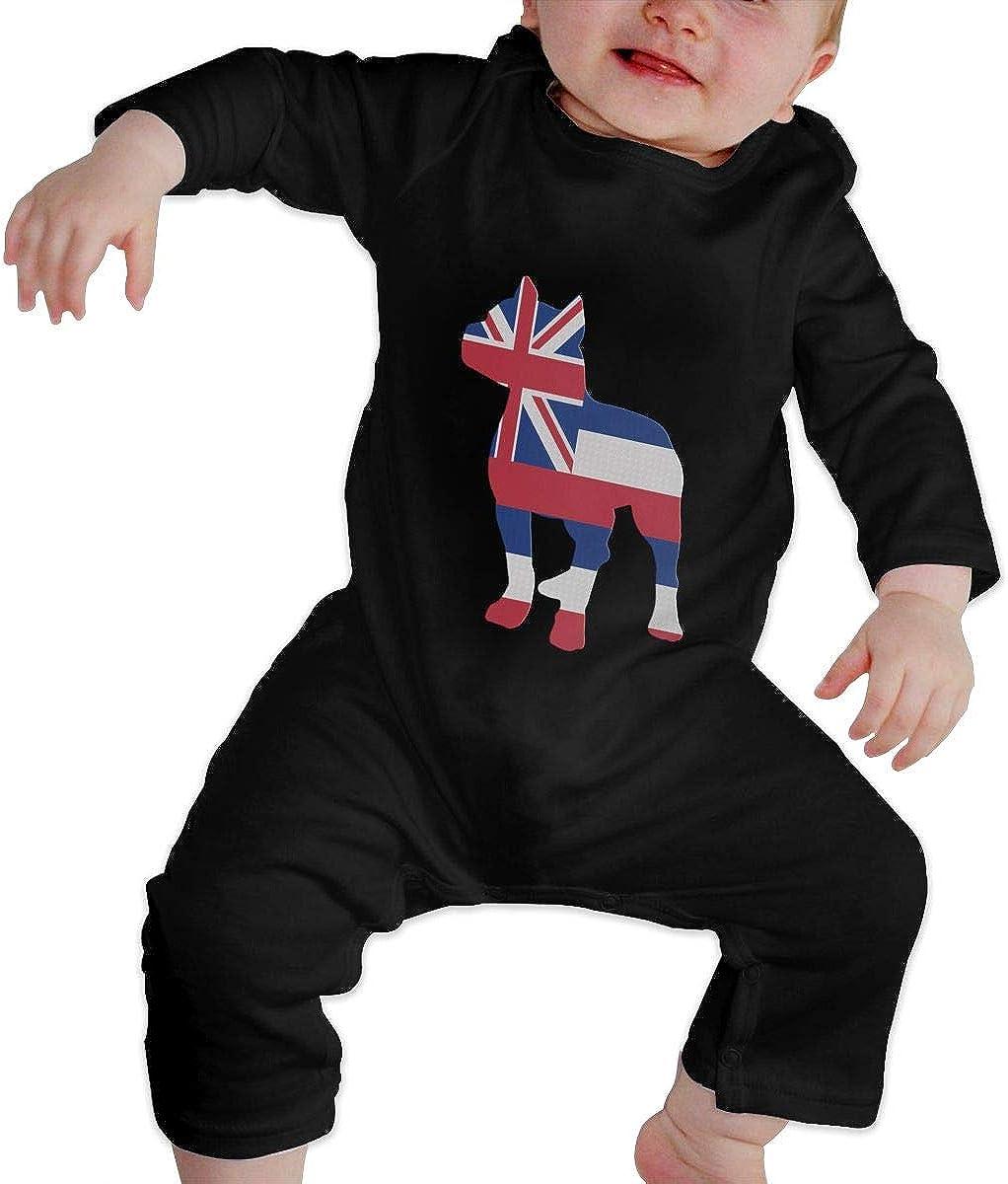 YELTY6F Patriotic Pitbull American Flag Printed Newborn Infant Baby Boy Girl Bodysuit Long Sleeve Rompers Black