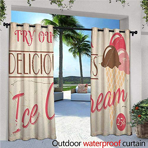 (familytaste Ice Cream Indoor/Outdoor Single Panel Print Window Curtain Try Our Delicious Ice Cream Logo Pop Art Style Advertisement Graphic Print Silver Grommet Top Drape W72 x L108 Pink Cream Umber)