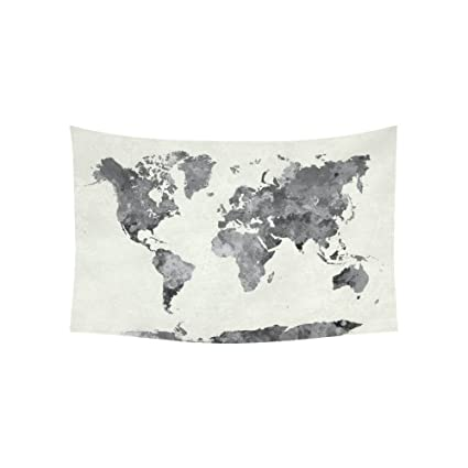 Amazon interestprint abstract splatter wall art home decor interestprint abstract splatter wall art home decor world map in watercolor painting gray tapestry wall publicscrutiny Image collections