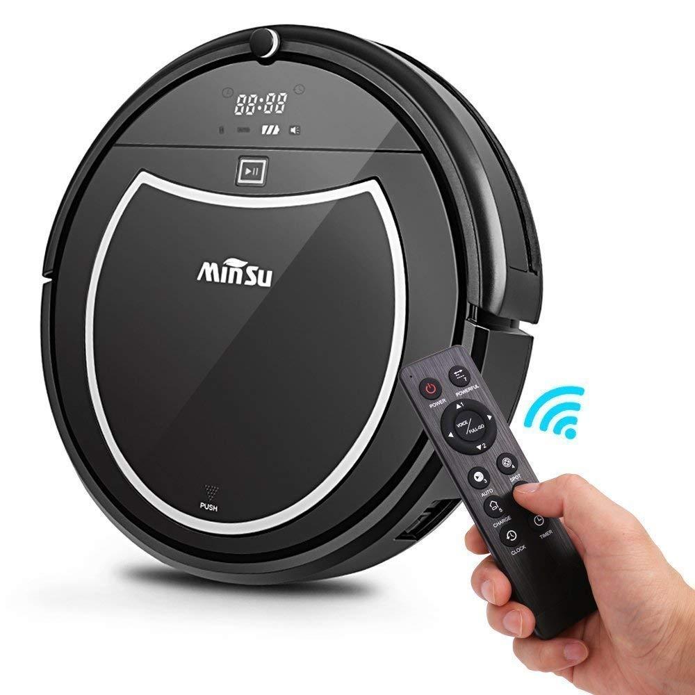Robotic Vacuum Cleaner, Minsu 2000mAh Large Capacity Li-battery Smart Automatic Self-Charge Remote Control HEPA Filter Fit for Carpet Tile Hardwood Laminate Tangle-free Suction for Pet Hair Dr.fasting DFMU1029
