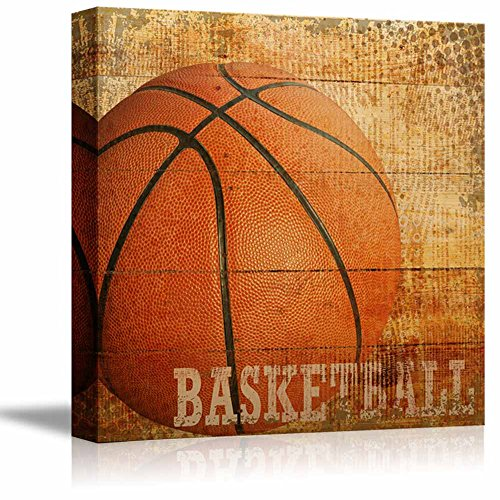 wall26 Basketball Americana – Patriotic Roundball Sport Grunge Flag – Canvas Art Home Decor – 12×12 inches For Sale
