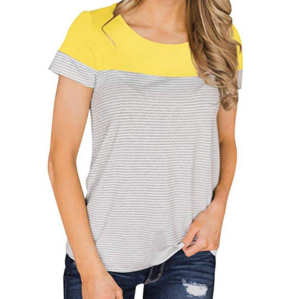 Women Casual Tops Stripe Print Short Sleeve Blouse O-Neck T-Shirt Shirt for Ladies Basic Vest Crop Top Yellow
