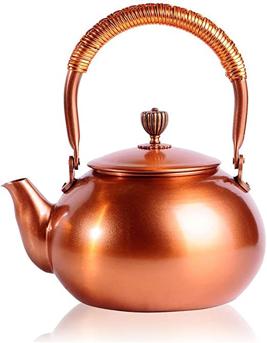 LARGE 3.1 Qt DEMMEX 2019 Heavy Gauge 1mm Thick Natural Handmade Turkish Copper Tea Pot Kettle Stovetop Teapot Copper 2.75lb