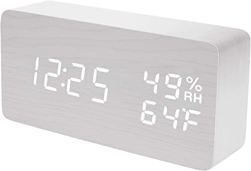 Raercodia Alarm Clock for Bedside Modern Wood Digital Clock Snooze LED Desk Clock Display Time Temperature Humidity Brightness Adjustable for Home Kids Bedroom Office White,White